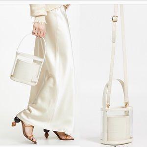 STAUD Clear/Cream Faux Croc Bissett Bag